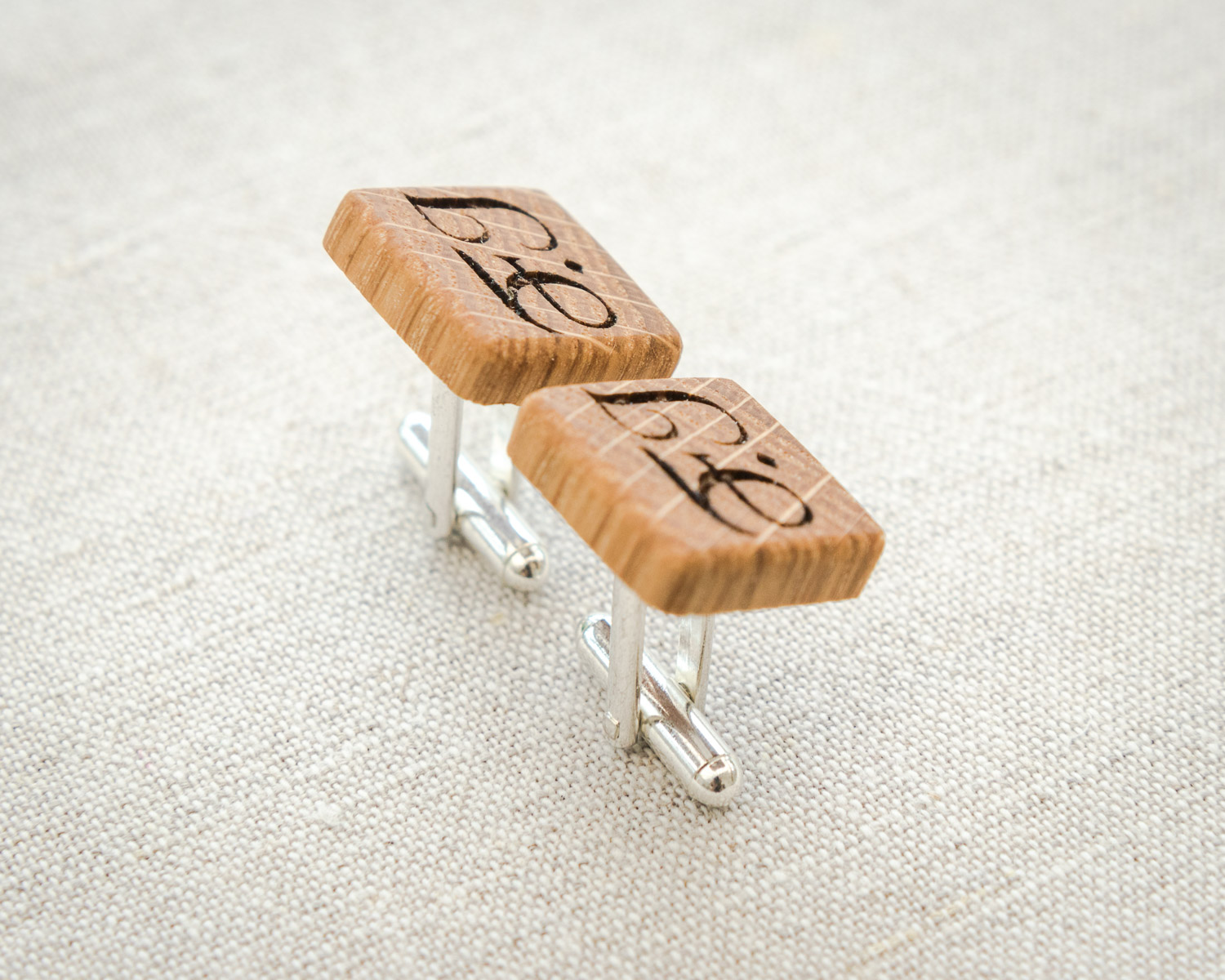 Custom laser engraved oak wood cufflinks