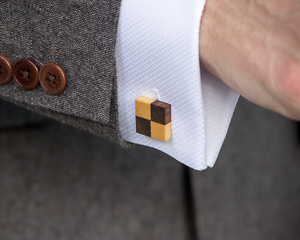 Walnut and Tulipwood Checkerboard Wooden Cufflinks